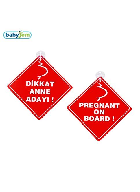 Baby Jem Babyjem Araba Cam Yazısı Dikkat Bebek Var Kırmızı